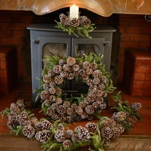 Iced Pine Cone Wreath Garland Amp Candle Holder Set