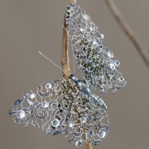 Jewelled Silver Butterfly Tree Decoration by Sia