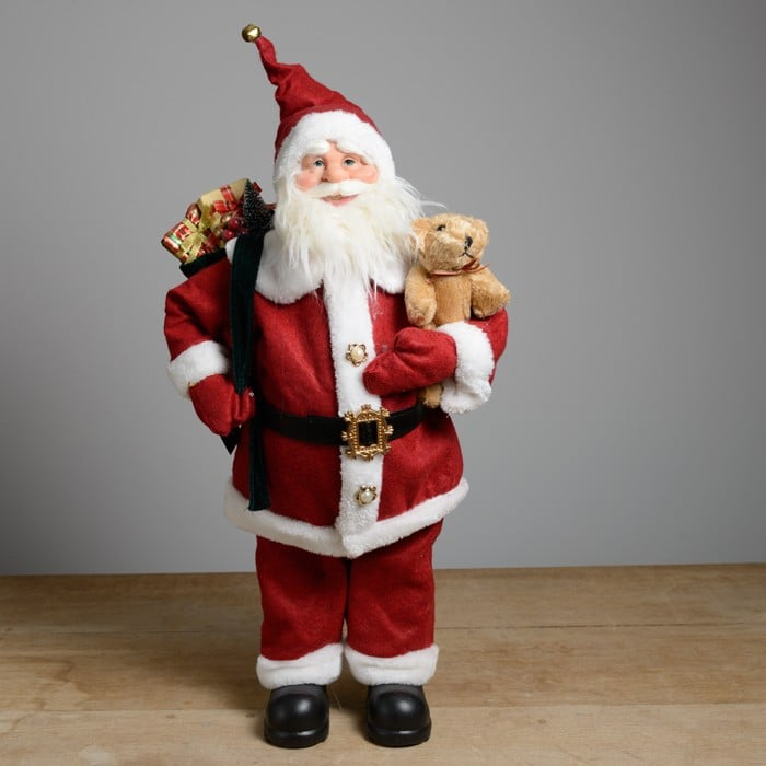 Luxury (60cm) Standing Santa with Teddy by Floral Silk
