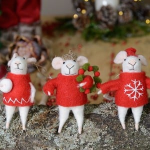 Mice Decorations (Set of 3) by Gisela Graham