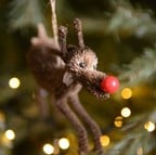 Red Nose Reindeer Bristle Tree Decoration