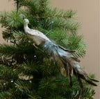 Silver Peacock Tree Decoration by Sia