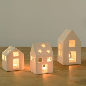 White Ceramic House Tea Light Holders - Set of 3 by Sia
