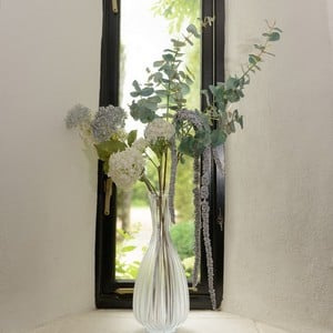White Green and Silver Faux Flower Arrangement by Sia